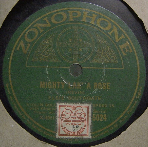 Elsie Southgate Violin - Mighty lak a rose - Zonophone 5024