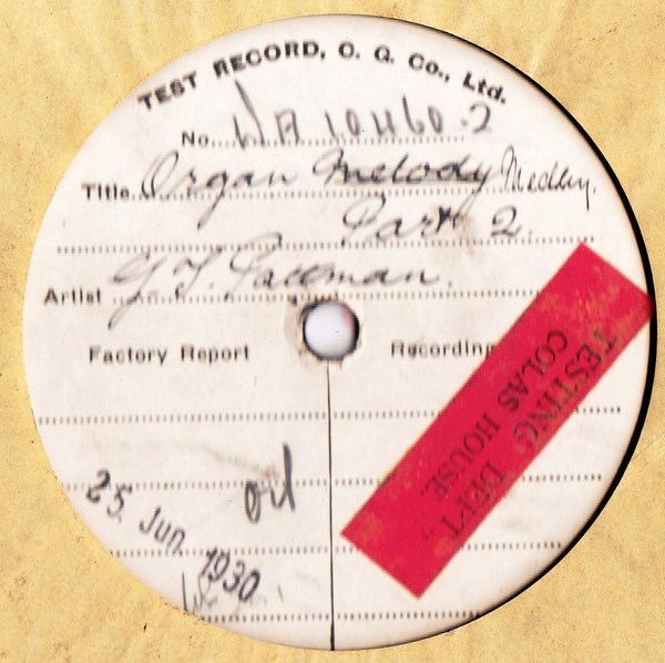 George Pattman - Organ Medley Pt. 2 - Test Pressing WA 10460-2