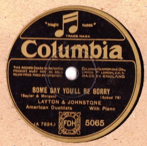 Layton & Johnstone - Some day you'll be sorry - Columbia 5065
