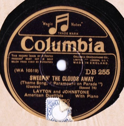 Layton & Johnstone - Sweepin' the clouds away - Columbia DB.255