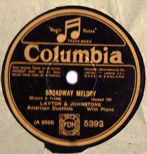 Layton & Johnstone - Broadway Melody - Columbia 5392