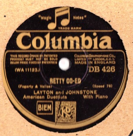 Layton & Johnstone - Betty Co - ed - Columbia DB.426
