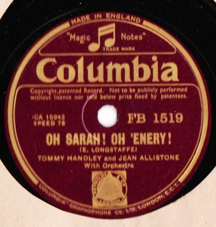 Tommy Handley - Oh Sarah Oh 'Enry - Columbia FB.1519