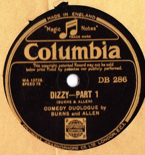 Burns & Allen Comedy - Dizzy Pt. 1 & 2 - Columbia DB.286