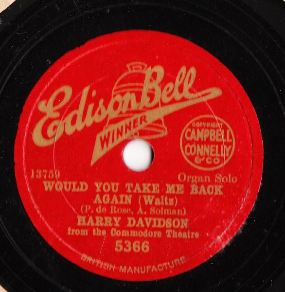 Harry Davidson Organ - Sally - Edison Bell 5366