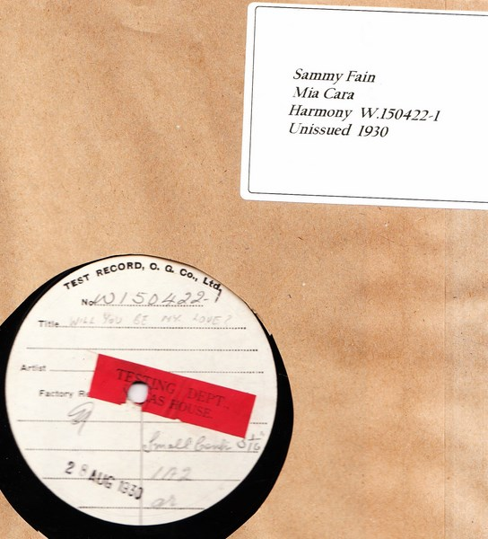 Sammy Fain - Mia Cara - Test Pressing W 150422-1