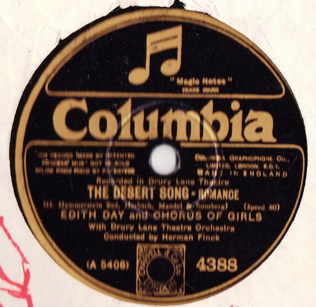 Edith Day - The Desert Song - Columbia 4388 Excellent