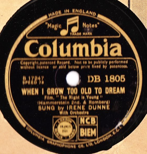 Irene Dunne - When I grow too old to Dream - Columbia DB.1805