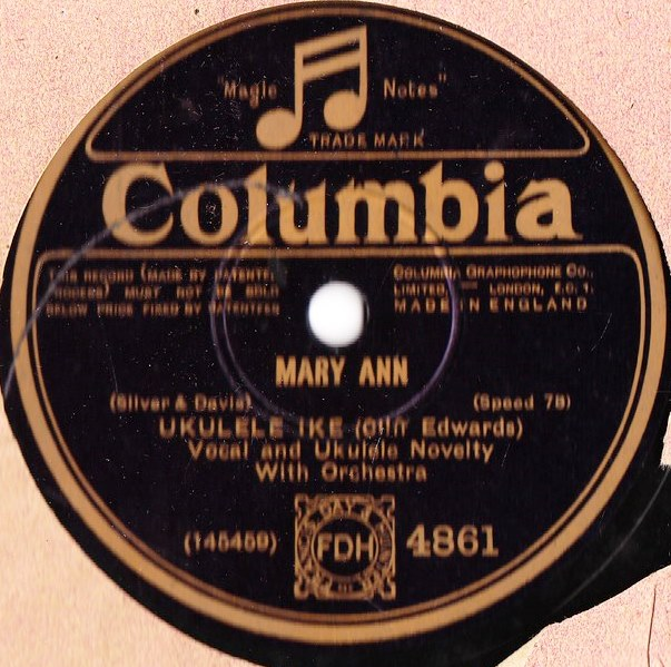 Ukulele Ike { Cliff Edwards } - Mary Ann - Columbia 4861