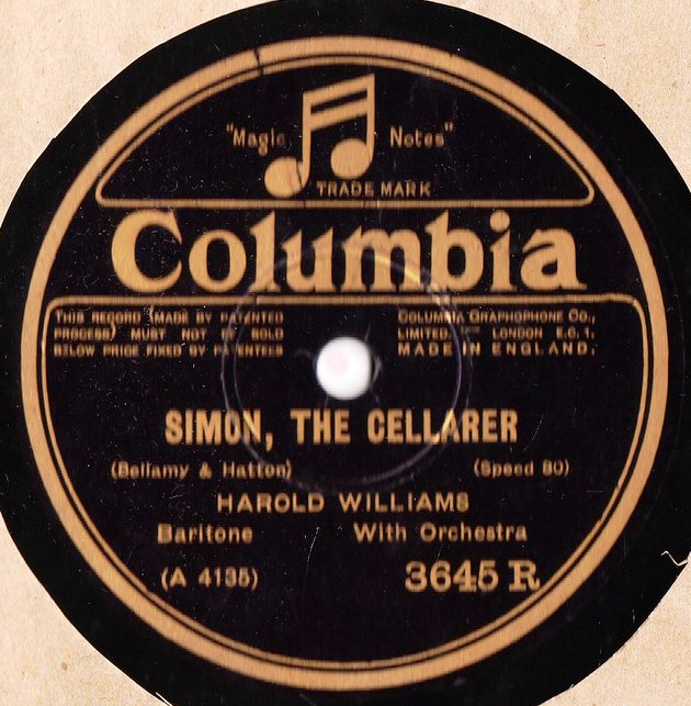 Harold Williams - Simon the Cellarer - Columbia 3645R