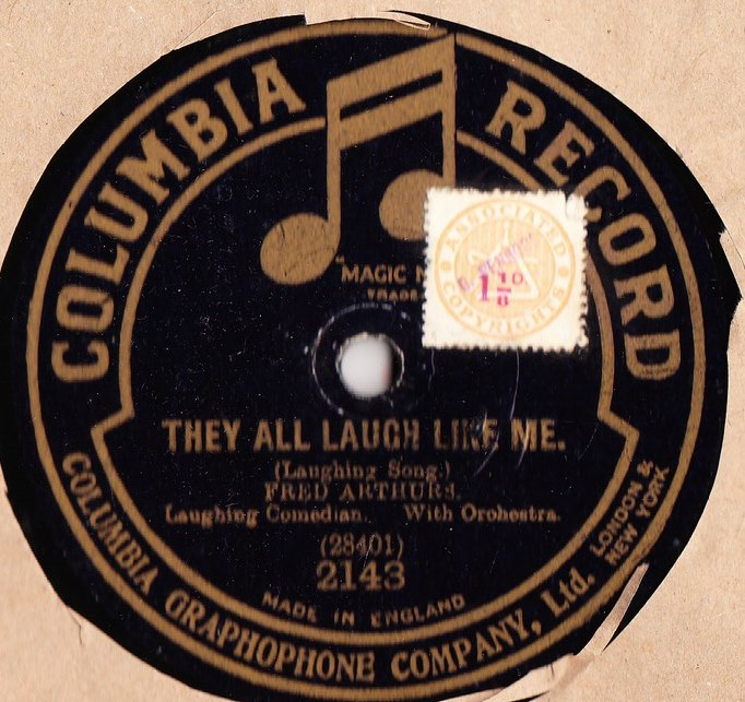 Fred Arthurs Comedian - Laughing Mad - Columbia 2143