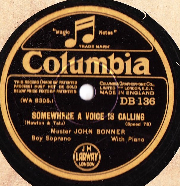 John Bonner Boy Soprano - Angels Guard Thee - Columbia DB.136