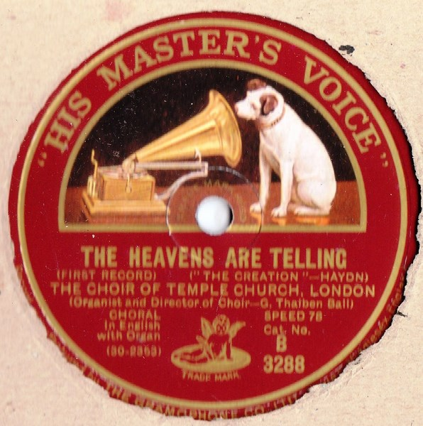 Choir of Temple Church London - Heavens are Telling - HMV B.3288