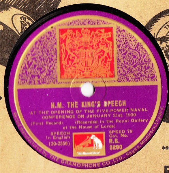 H.M. The Kings Speech 1930 - HMV R.B. 3290 Mint Minus