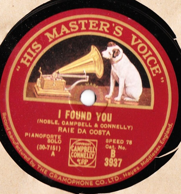 Raie De Costa Piano - I found you - HMV B.3937