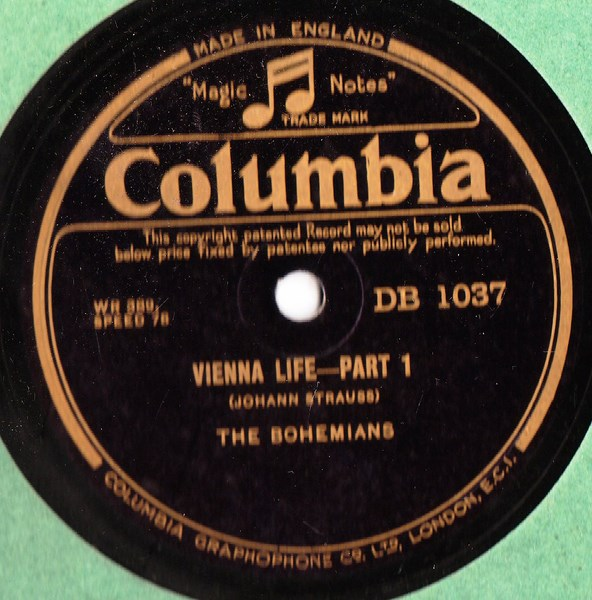 The Bohemians - Vienna Life - Columbia DB.1037