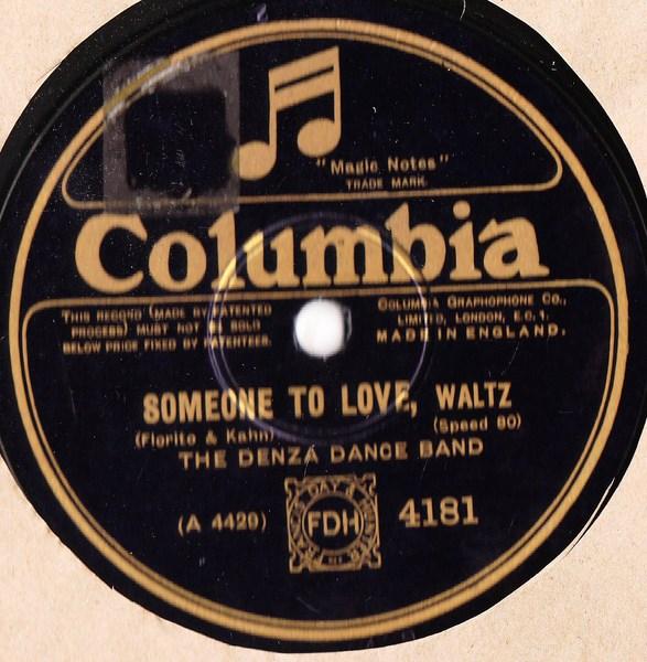 Denza Dance Band - Someone to love - Columbia 4181