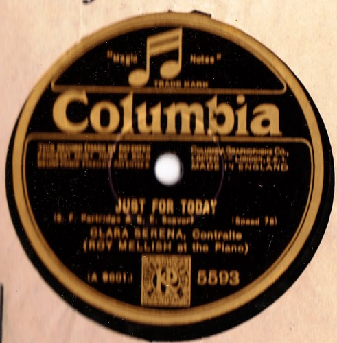 Clara Serena Contralto - Just for Today - Columbia 5593