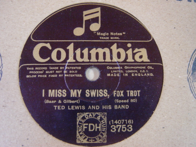 Ted Lewis & Band - I miss my Swiss - Columbia 3753 UK