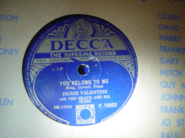 Dickie Valentine - You belong to me - Decca F.10002