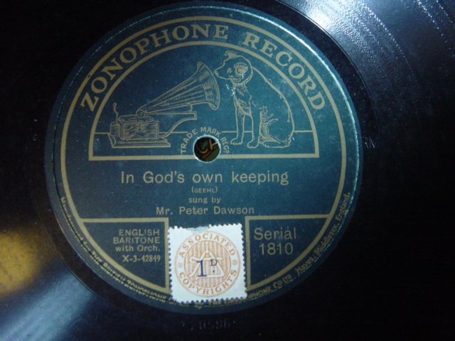 Peter Dawson - In Gods own keeping = Zonophone 1810