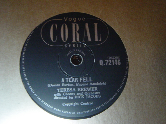 Teresa Brewer - A tear fell / Bo Weevil - Vogue Coral Q.72146