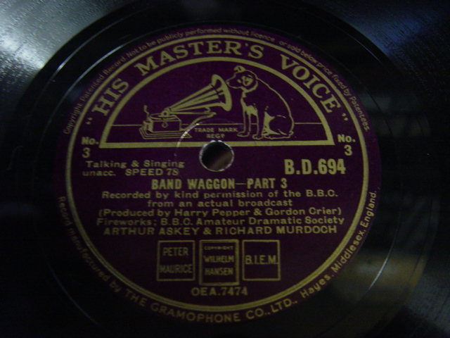 Arthur Askey / Richard Murdoch - Band Wagon - HMV B.D.694