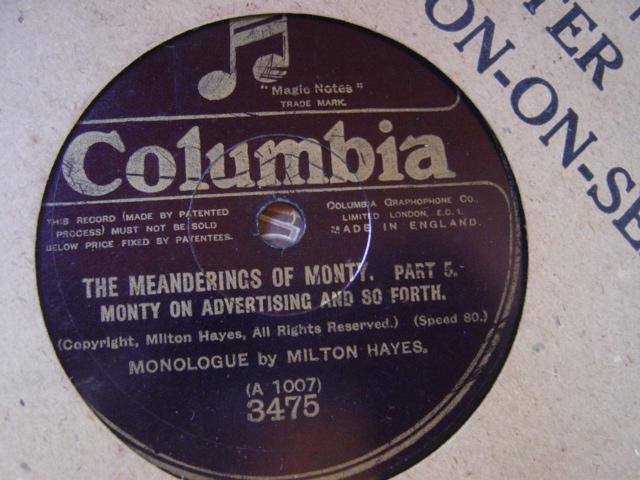 Milton Hayes - Meanderings of Monty = Pt's 4 & 5 - Columbia 3475