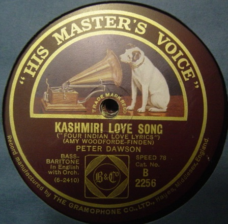Peter Dawson - Kashmiri Love Song - HMV B.2256