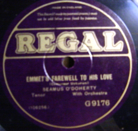 Seamus O'Doherty - Emmets Farewell to his Love - Regal G.9176