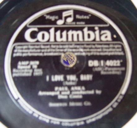 Paul Anka - I love you Baby - Columbia DBI 4022 Irish