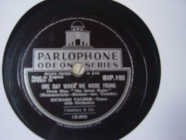 Richard Tauber - One Day when we were young - Parlophone Irish