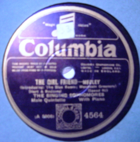 The Singing Sophomores - The Girl Friend - Columbia 4564