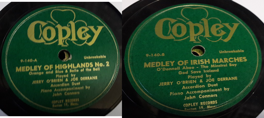 Joe Derrane & Jerry O'Brien Accordian Duet - Copley 9-140 Irish