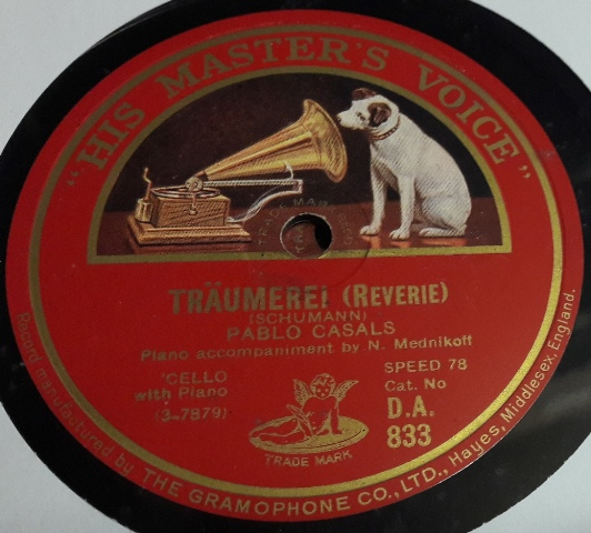 Pablo Casals Cello - Traumerel & Melody in F - HMV DA.833