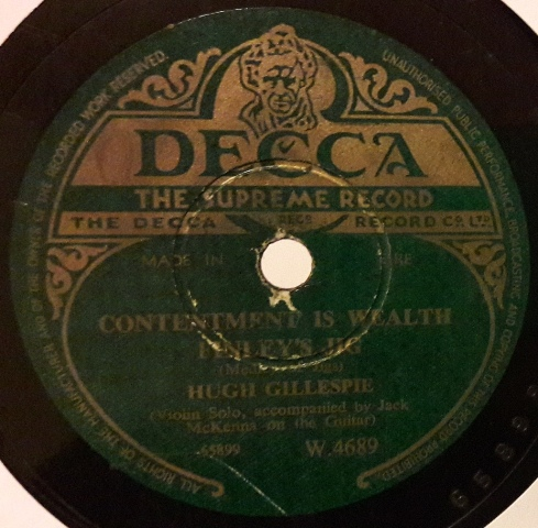 Hugh Gillespie Fiddle - Donegal Traveller - Decca W.4689 Irish