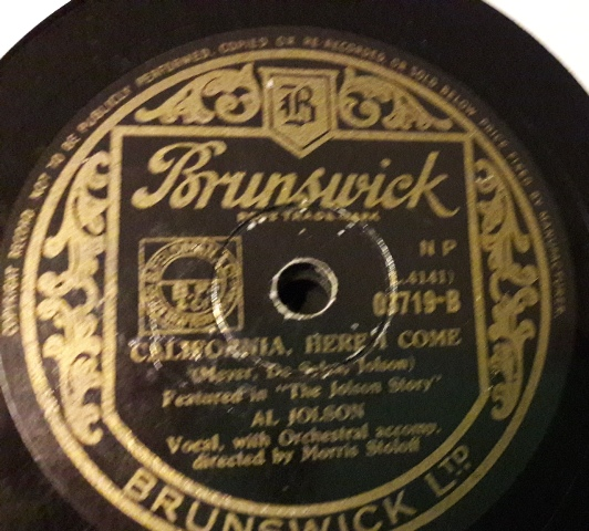 Al Jolson - California here I come - Brunswick 03179