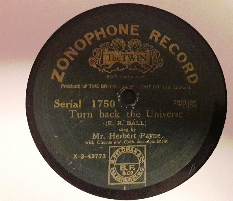 Herbert Payne - Turn back the Universe - Zonophone 1750