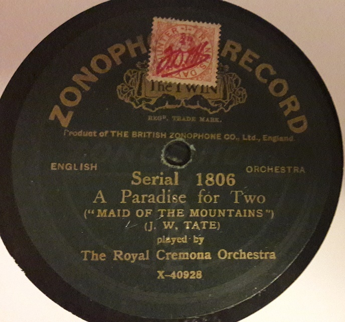 Royal Cermona Orchestra - A Paradise for two - Zonophone 1806