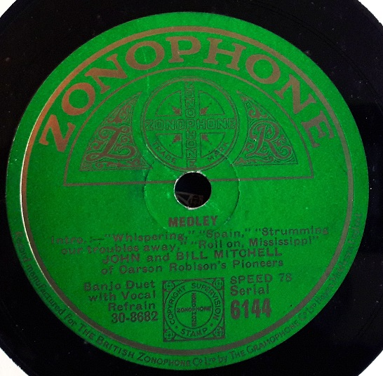 John & Bill Mitchell - Honeymoon Express - Zonophone 6144