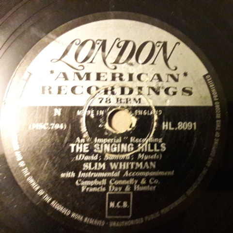 Slim Whitman - The Singing Hills - London HL 8091 UK