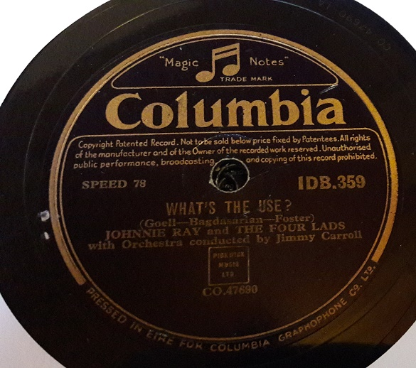 Johnnie Ray - Walkin' my baby back Home - Columbia IDB.359 Irish