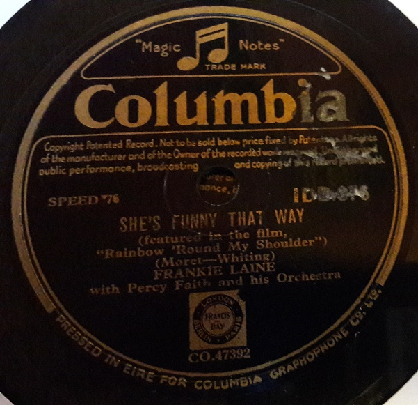Frankie Laine - She's funny that way - Columbia IDB.376 Irish
