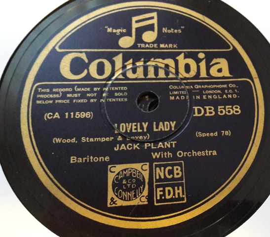 Jack Plant - Lovely Lady - Columbia DB.558