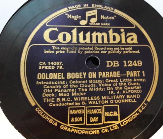 B.B.C. Wireless Military Band - Colonel Bogey - Columbia DB.1249