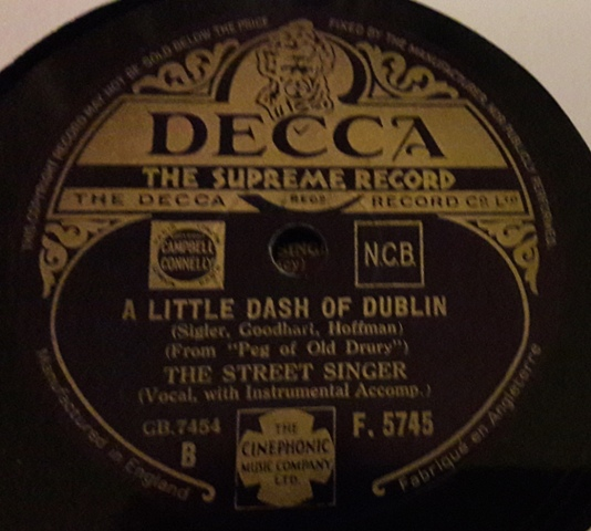 The Street Singer - A little dash of Dublin - Decca F.5745