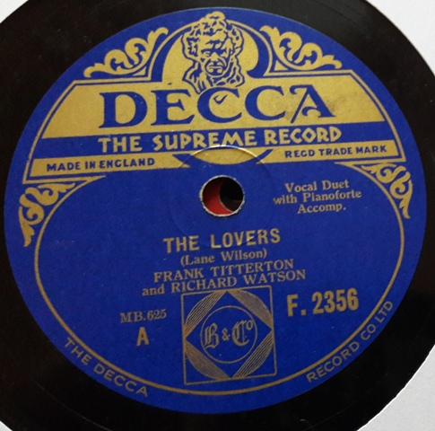 Frank Titterton - The Lovers - Decca F.2356 E+