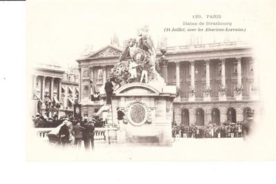 PARIS - STATUE DE STRASBOURG - UNUSED # 129