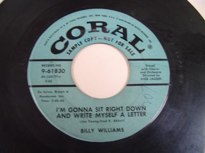 BILLY WILLIAMS - DATE WITH BLUES - CORAL PROMO P 96