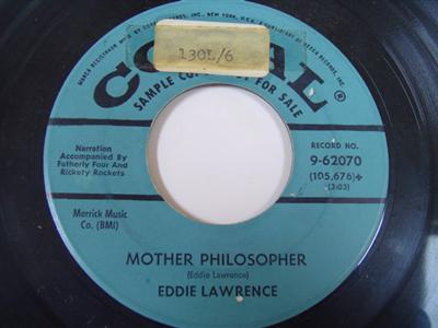 EDDIE LAWRENCE - MOTHER PHILOSOPHER - CORAL PROMO